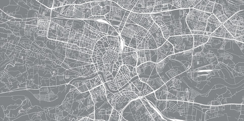 Urban vector city map of Krakow, Poland Wall mural