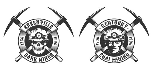 Coal miner vintage logo - crossed picks and circular ribbon. Skull in a mining helmet.