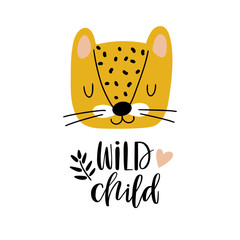 Illustration with cute leopard and text.