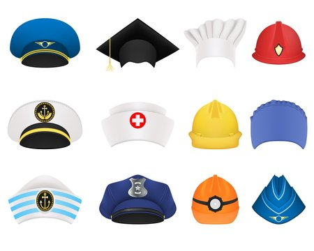 Hats and helmets of different professions. A set of twelve items. Realistic vector isolated on white background.