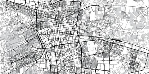 Urban vector city map of Lodz, Poland