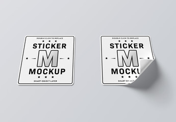 Isolated Square Stickers with Rounded Corners Mockup
