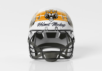 Isolated American Football Helmet on White Mockup