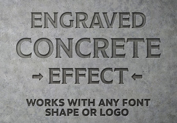 Engraved Concrete Text Effect Mockup