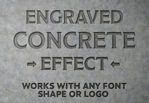 Engraved Concrete Text Effect Mockup