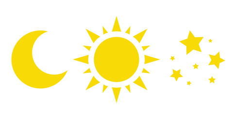 sun, moon and stars, a collection of vector icons. yellow weather symbols