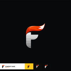 Letter Logo Design with fox tail vector