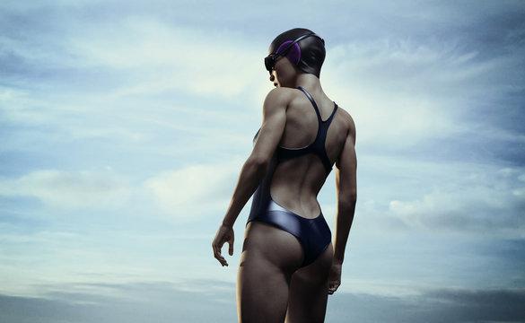 woman swimmer outdoor - 3d rendering