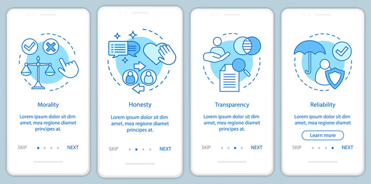 Ethical principles onboarding mobile app page screen vector template