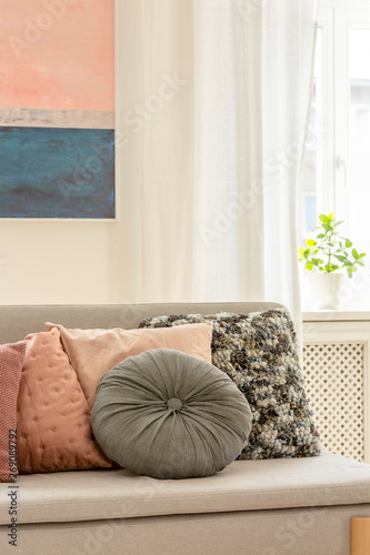 Fine Grey And Pastel Pink Pillows On Trendy Scandinavian Couch In Dailytribune Chair Design For Home Dailytribuneorg