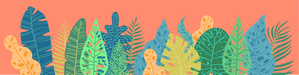 Tropical plants, leafs. Summertime nature objects. Jungle, Hawaii, Tropics. Flat design, modern trendy style. Set elements for design card, poster, postcard and horizontal banner vector illustration