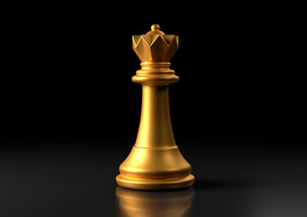 Fototapeta Gold queen chess, standing against black background. Chess game figurine. leader success business concept. Chess pieces. Board games. Strategy games. 3d illustration, 3d rendering obraz