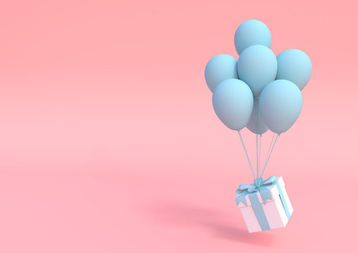 White gift box with blue ribbon and balloon on pastel pink background. Minimal concept. 3d render illustration