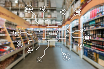 Retail marketing channels E-commerce Shopping automation concept on blurred supermarket background.