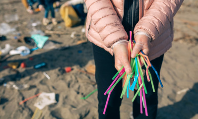 Unrecognizable woman showing handful of straws collected on the beach with group of volunteers working in the background. Selective focus in straws in foreground Wall mural