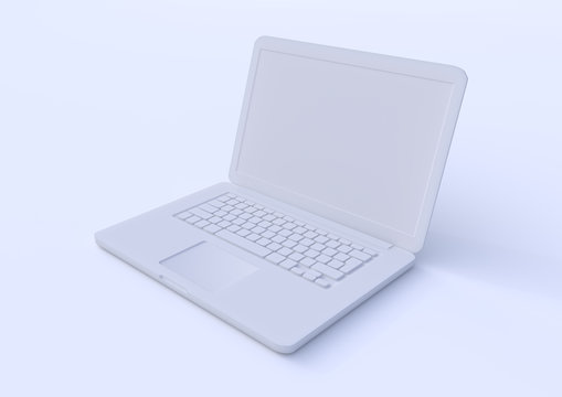 white laptop isolated on a white background, pastels color notebook, portable pc, computer 3d illustration 3d rendering
