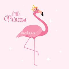 Beautiful Little Princess Pink Flamingo in Golden Crown. Vector Illustration