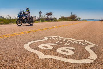 Fotobehang Route 66 Motorcycle on Route 66