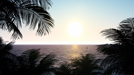 Palm Sunset Background 3D Rendering