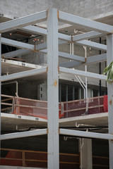 welded steel beams at a construction site stock image