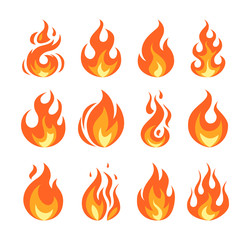 Simple vector flame icons in flat style