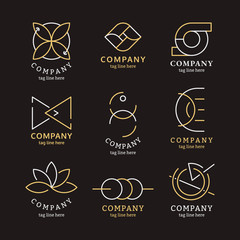 Golden business logo set