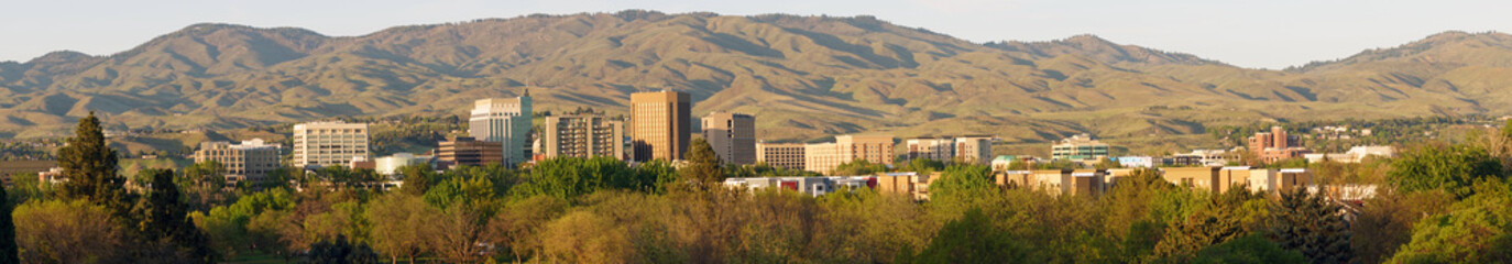 Long Panoramic Late Afternoon Light Downtown City Center Boise Idaho