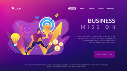 Businessman with trophy running and rising arrow. Business mission, mission statement, business goals and philosophies concept on white background. Website vibrant violet landing web page template.