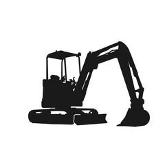 simple excavator silhouette design vector logo illustration