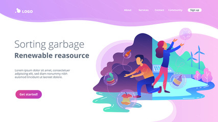 People trying reach zero waste. Technology of ecological waste free journey focusing on landfill trash. Sorting garbage, renewable resourse landing page. Vector illustration on ultraviolet background