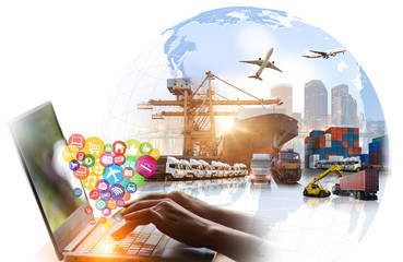 Wall Mural - Social, media, Marketing and Internet of things (IOT) concept, Global business of Container Cargo freight train for Business logistics and Air cargo trucking, Rail transportation and maritime shipping