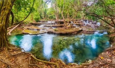Beautiful waterfall Huai Mae Khamin, Thailand. Panorama