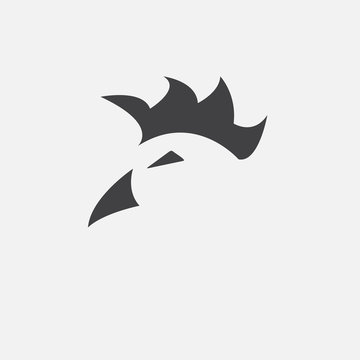 angry rooster logo simple