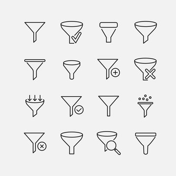 Funnel related vector icon set.