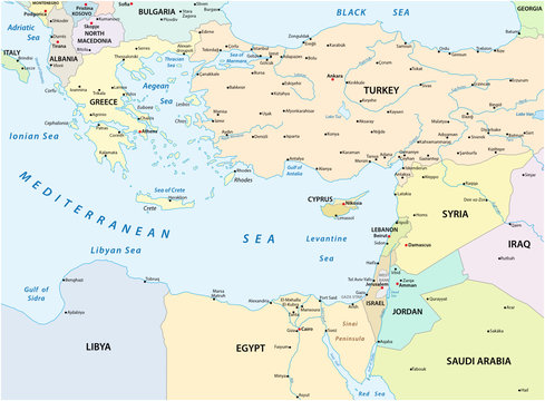 country map of the eastern mediterranean sea