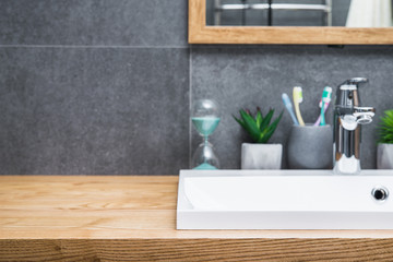 Natural wood table in the bathroom scandinavian style