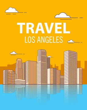 Los angeles downtown buildings skyscrapers.Coastal city. A poster for travel.American landscape.United States in flat style a vector.
