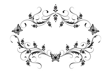 Wall Mural - Decorative vintage frame with floral ornament and butterflies  in retro style isolated on white