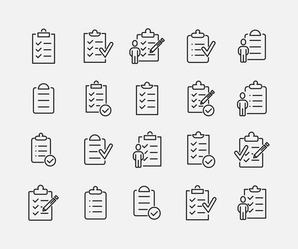 Clipboard related vector icon set.