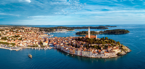 Beautiful Rovinj - aerial view panorama taken by a professional drone from above the sea. The old town of Rovinj, Istria, Croatia