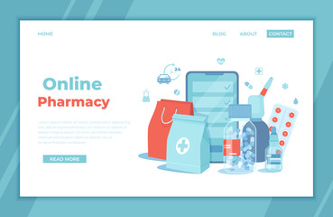 Online Pharmacy. Buy medicaments and drugs online. Pharmaceutical products in mobile application. Phone screen, medicine packages, pills, spray, drops. landing page template or banner. Vector