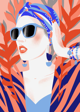 Fashion woman model with sunglasses and kerchief on tropical background. Stylish modern portrait of beautiful girl. Pose. Flat illustrtation. Template for card, poster, banner, print for t-shirt,