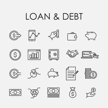 Simple collection of loan debt related line icons.