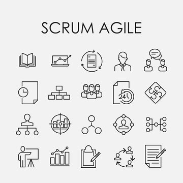 Simple collection of scrum agile related line icons.