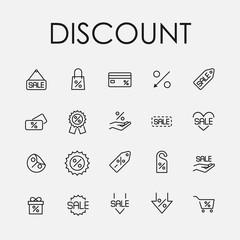 Premium set of discount line icons