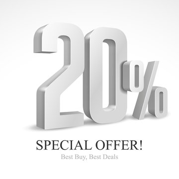 20 Off Special Offer Silver 3D Digits Banner, Template Twenty Percent. Sale, Discount. Grayscale, Metal, Gray, Glossy Numbers. Illustration Isolated On White Background. Ready For Your Design. Vector