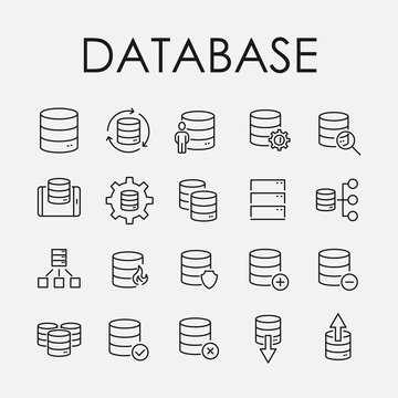 Simple set of database related outline icons.