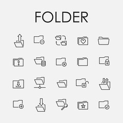 Set of folder icons in modern thin line style.