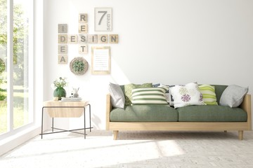 Stylish room in white color with sofa. Scandinavian interior design. 3D illustration