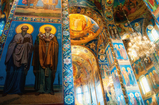 Cathedral of Our Savior on Spilled blood - interior of St Petersburg landmark. Mosaics at the columns and walls
